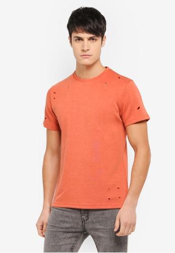 ZALORA 橘色 抓破設計T恤 DB908AA0208BA9GS_1