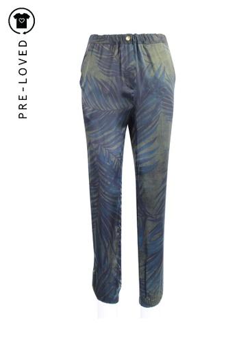 Lanvin green Pre-Loved lanvin Palm Print Silk Pants 14399AADD7DA65GS_1