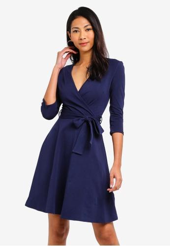 Dorothy Perkins 海軍藍色 Navy Horn Button Wrap Dress F2A22AAF886B26GS_1
