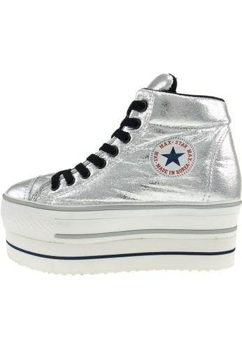 Maxstar 銀色 新款韩国鞋CN9-Taller-TC時尚皮革布混合女銀色 US Women Size MA345SH52HGPTW_1