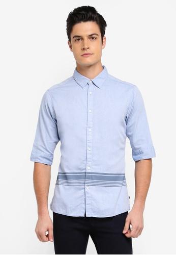 ESPRIT 藍色 Woven Short Sleeve Shirt EC9ADAA6641F32GS_1