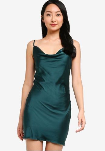 ZALORA BASICS green Lounge Cowl Neck Slip Dress 2DBDFAAEFD3272GS_1
