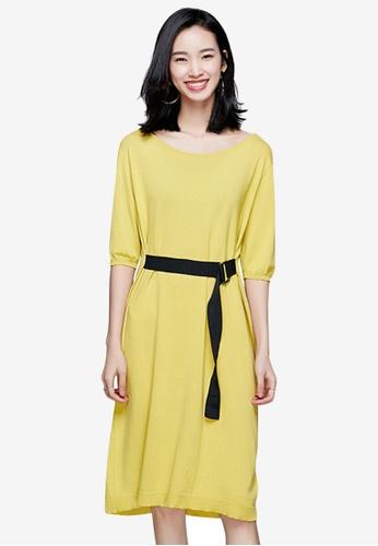 Sunnydaysweety yellow Temperament New Belted Knit One Piece Dress 78B02AA575073EGS_1