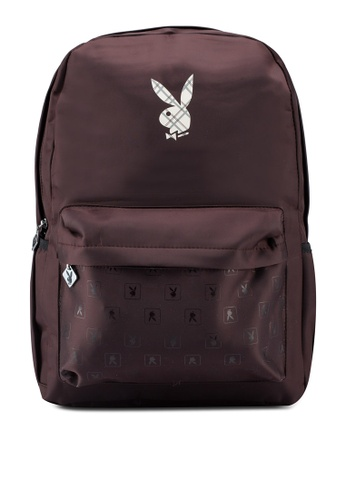 Playboy brown Printed Backpack 937B8AC2213879GS_1