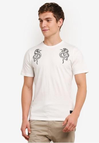 Flesh IMP white Garter Snake Embroidery T-Shirt FL064AA0S5U1MY_1