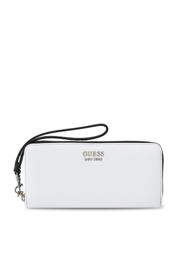 Guess white and multi Little Paris Large Zip Around Wallet 61605AC330647EGS_1