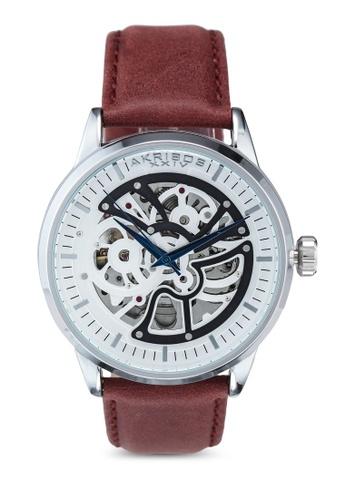 Akribos XXIV brown Automatic Leather Watch 120D7AC17B62CCGS_1