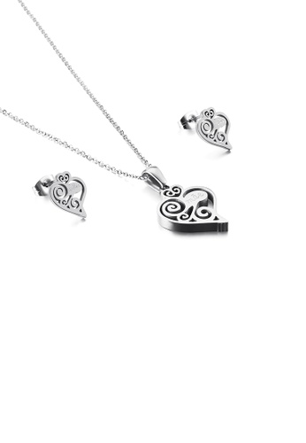 Glamorousky silver Fashion and Simple Pattern Heart-shaped 316L Stainless Steel Necklace and Stud Earrings Set 87659AC0247B57GS_1