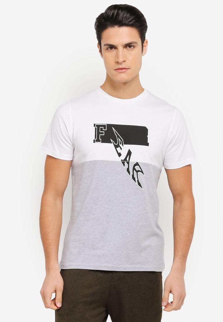 Contrast White Off Melange Printed Tee ZALORA Blocking Grey rxXFPr