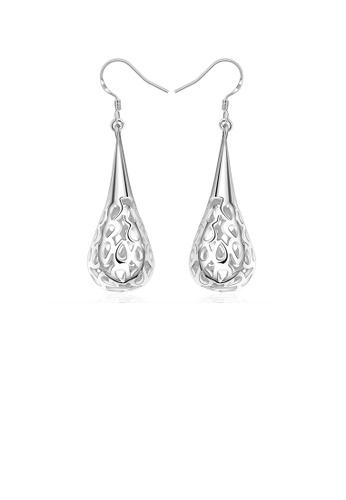 Glamorousky silver Fashion Elegant Water Drop Shaped Pierced Earrings EEE52ACA09E843GS_1