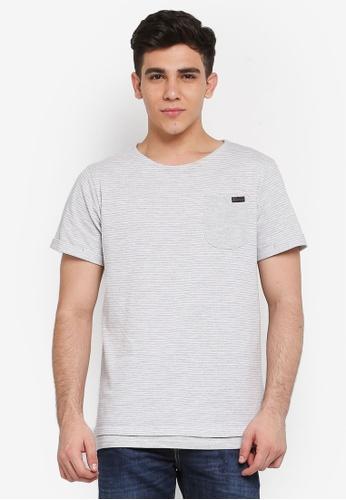 Indicode Jeans 灰色 短袖口袋T恤 CE599AA61C4E8EGS_1