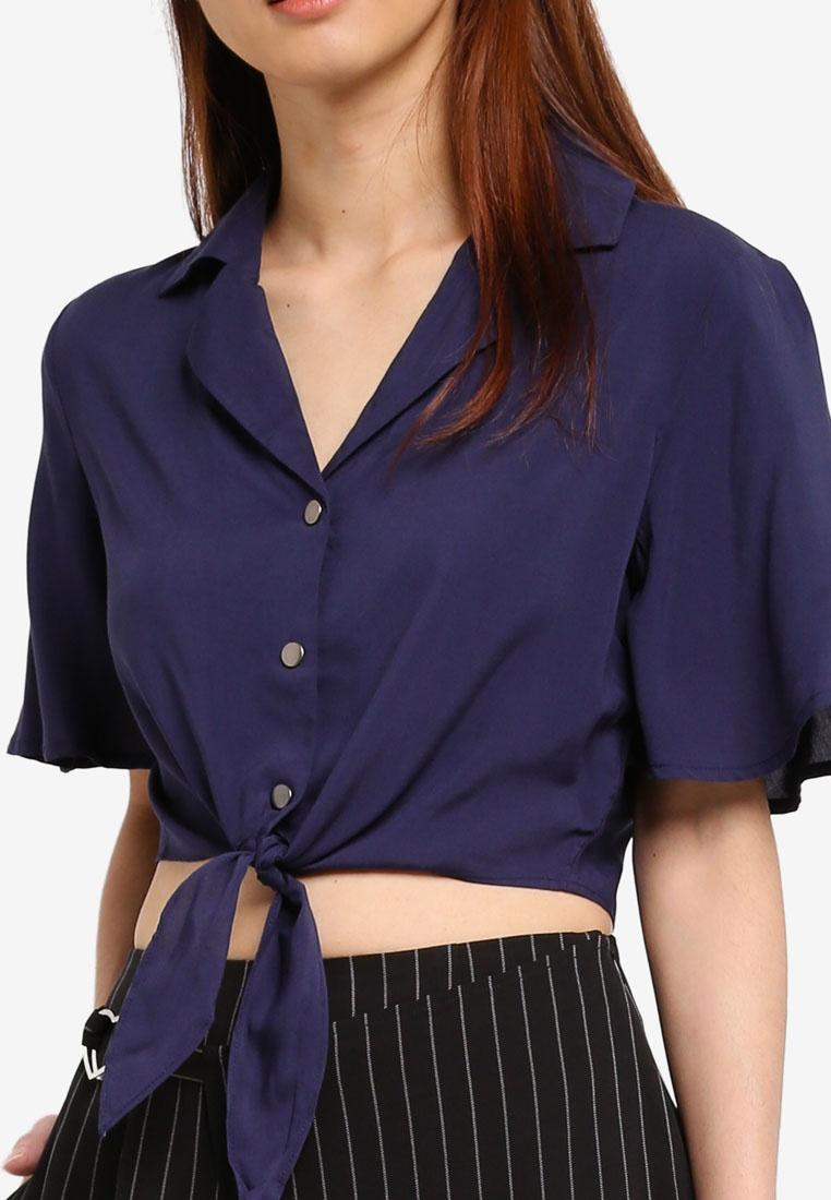 Resort Something Borrowed Tie Waist Shirt Navy qtp1rtxBnW