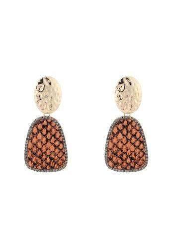 River Island orange Hammered Neon Snake Earrings E6221ACF4B729BGS_1
