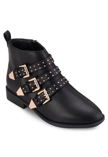 三zalora 評價鉚釘扣環帶PU 短靴, 女鞋, 鞋