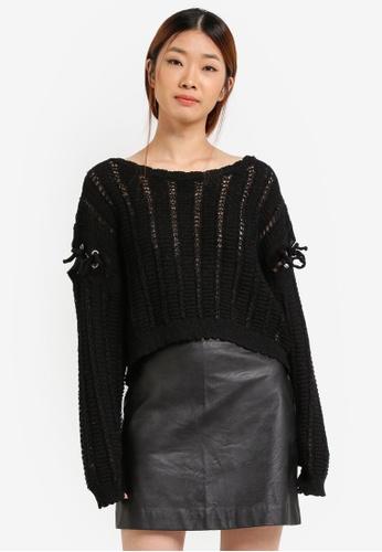 Something Borrowed black Tie Sleeve Knit Sweater Top 97DC5AA29ED680GS_1