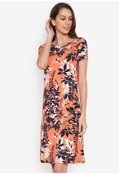 bdacdcaf1b MARKS   SPENCER orange Floral Print Short Sleeve Swing Dress  C6146AAE789676GS 1