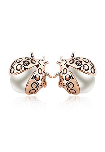 OUXI gold OUXI Beetle Pearl Earrings (Gold) OU821AC91BLCMY_1