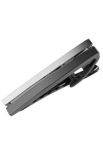 CUFF IT silver 48mm Gunmetal and Silver Split Bars Tie Clips CU047AC03XBGHK_1