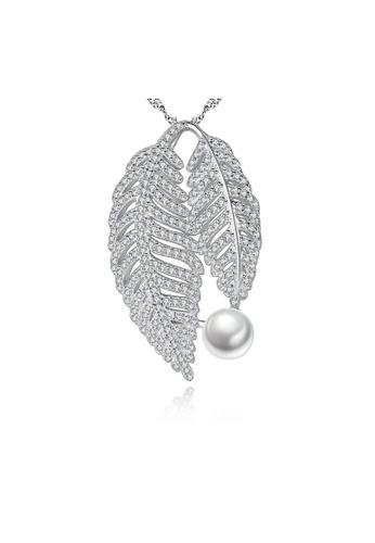SUNRAIS silver Premium Color Stone Silver Leaf Necklace A8237ACB754F7FGS_1