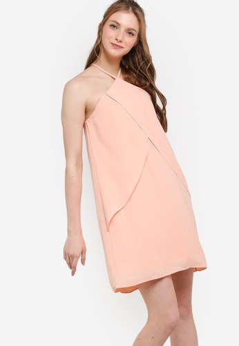 ZALORA pink Love Halter Neck With Ruffle Dress 1A360AAB6BC87AGS_1