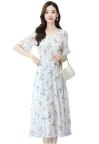 Halo beige Floral Printed Chiffon Dress 4D833AAC7E5113GS_1