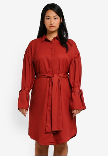 LOST INK PLUS red Plus Size Shirt Dress With Fluted Cuff LO776AA0SZ4SMY_1