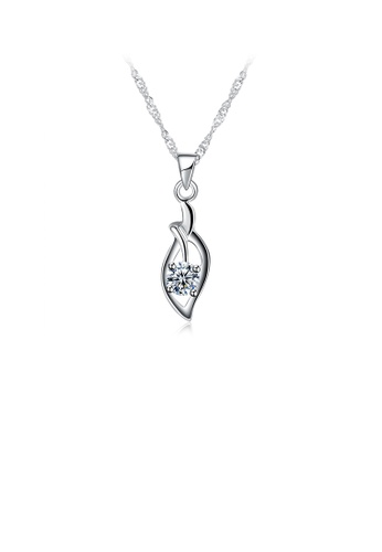 Glamorousky white 925 Sterling Silver Simple Elegant Fashion Leaf Pendant Necklace with Cubic Zircon BC529AC1A5854BGS_1