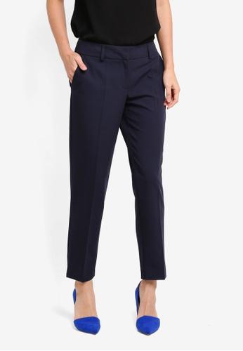 Dorothy Perkins navy Split Hem Ankle Grazer Trousers DO816AA0ST18MY_1