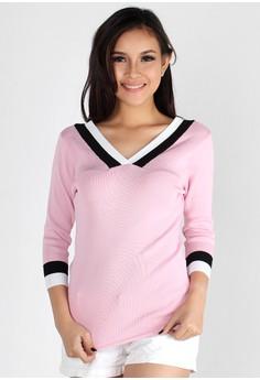 V-Neck Color Block Long Sleeve Top