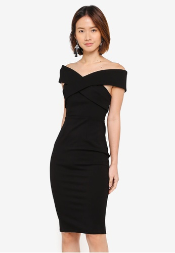 INDIKAH black Off Shoulder Bodycon Dress 6BFD7AA9F1C1E6GS_1