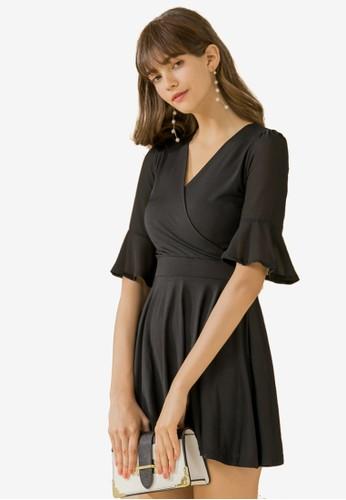 Eyescream black Ruffle Sleeve Wrap Dress C5397AA8D60A72GS_1