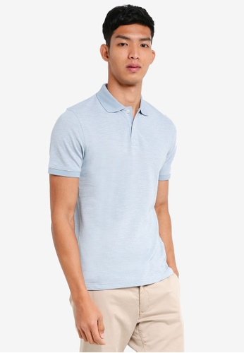 Selected Homme blue Lau Slub Ss Polo 2740FAA068260CGS_1