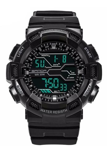 SANDA black SANDA 378 Military Waterproof Outdoor Sports Men's Shockproof Digital Watch (Full Black) SA708AC0RXEOMY_1