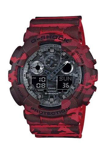 CASIO red Casio G-Shock Red Camo Resin Watch 9A986AC1B491F6GS_1