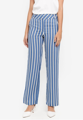 TOPSHOP blue Striped Wide Leg Trousers 87418AA371C795GS_1