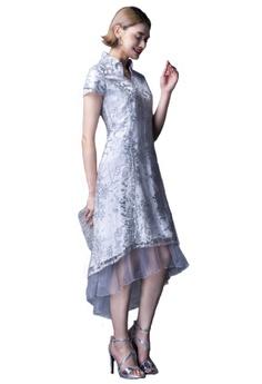 f82531e0de Evening by Karen Liu grey Ruffle Collar Tulip Sleeves Sequin Lace Hi-Low  Dress 9FF5FAA2C4638CGS 1