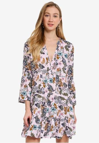 JACQUELINE DE YONG purple Starr Life 7/8 V-Neck Short Dress F5D86AA19DFDF2GS_1
