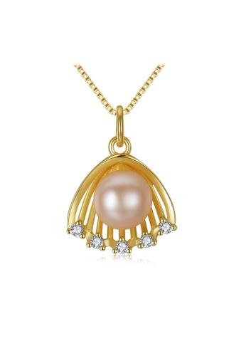 SUNRAIS gold Premium colored stone gold simple design necklace 1185BAC7755B9AGS_1
