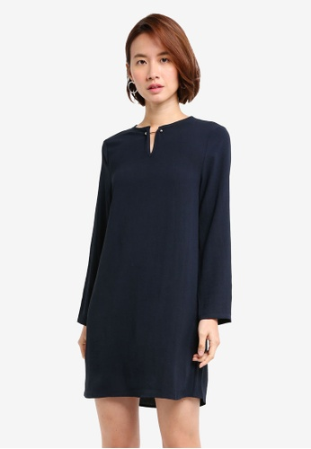 ZALORA BASICS navy Metal Hardware Shift Dress A9418AA3F7146FGS_1