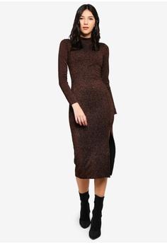 cd46b37401c01 Miss Selfridge brown Bronze High Neck Pencil Dress 04AFFAA7BD4911GS 1