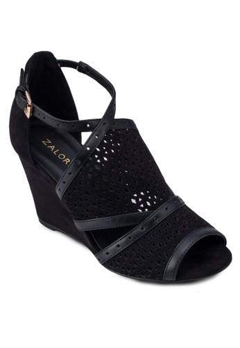 沖孔zalora 順豐楔型跟涼鞋, 女鞋, 楔形涼鞋