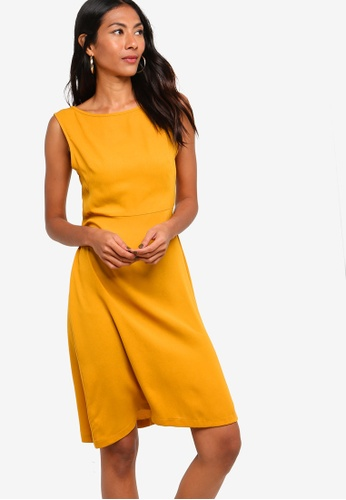 ZALORA BASICS yellow Basic Fit And Flare Dress 858F3AA6135336GS_1