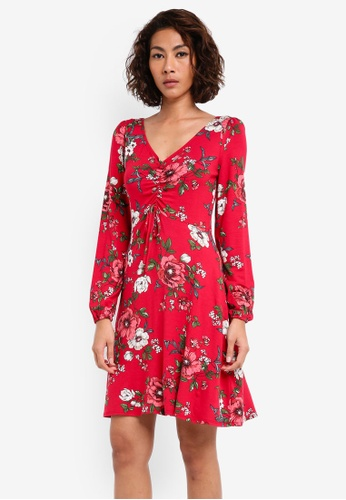 Dorothy Perkins red Floral Print Tea Dress DO816AA0SKS1MY_1
