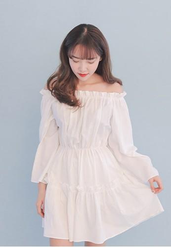 露肩束腰迷你洋裝,esprit香港門市 服飾, 洋裝