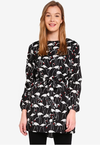 Glamorous black and multi Flamingo Print Dress 1C42CAA04EC026GS_1