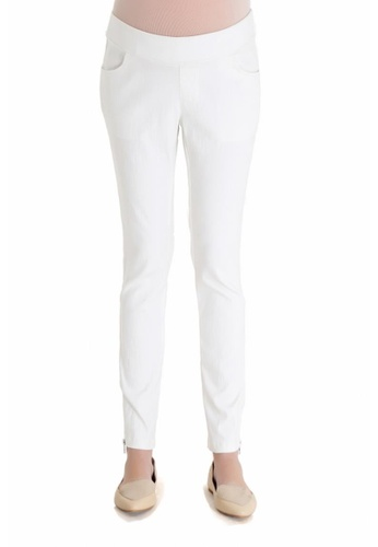 Bove by Spring Maternity white Woven Skinny Cassandra Zip Pants IB1001 SP010AA57SAWSG_1
