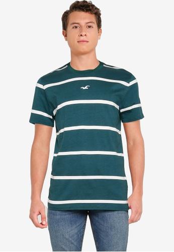Hollister green Crew Stripes T-Shirt 72C3BAA39EC967GS_1
