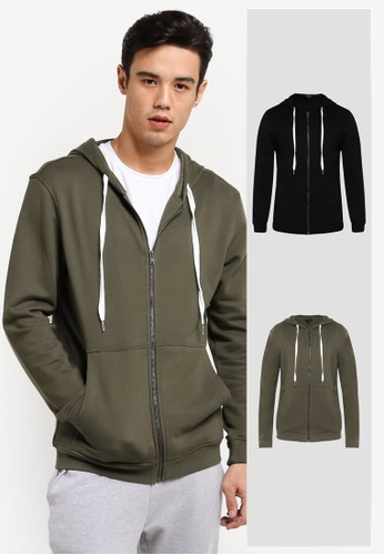 ZALORA black and green 2 Pack Cotton Terry Hoodie ZA819AA0RD9AMY_1