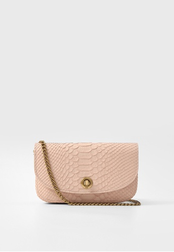 Rabeanco pink RABEANCO Chain Clutch - Embossed Pink 4799FACE956599GS_1