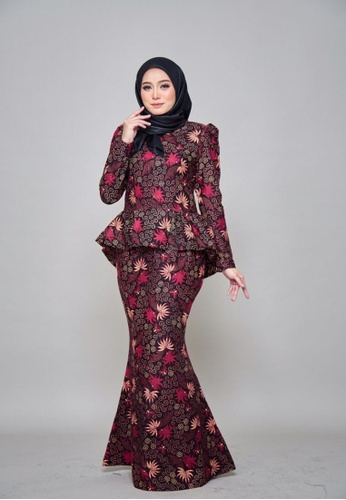 CHYARA 3.0 - Batik Peplum Hanna for Lady from ROSSA COLLECTIONS in Black and Beige